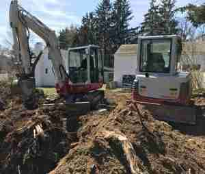Excavating for stump removal
