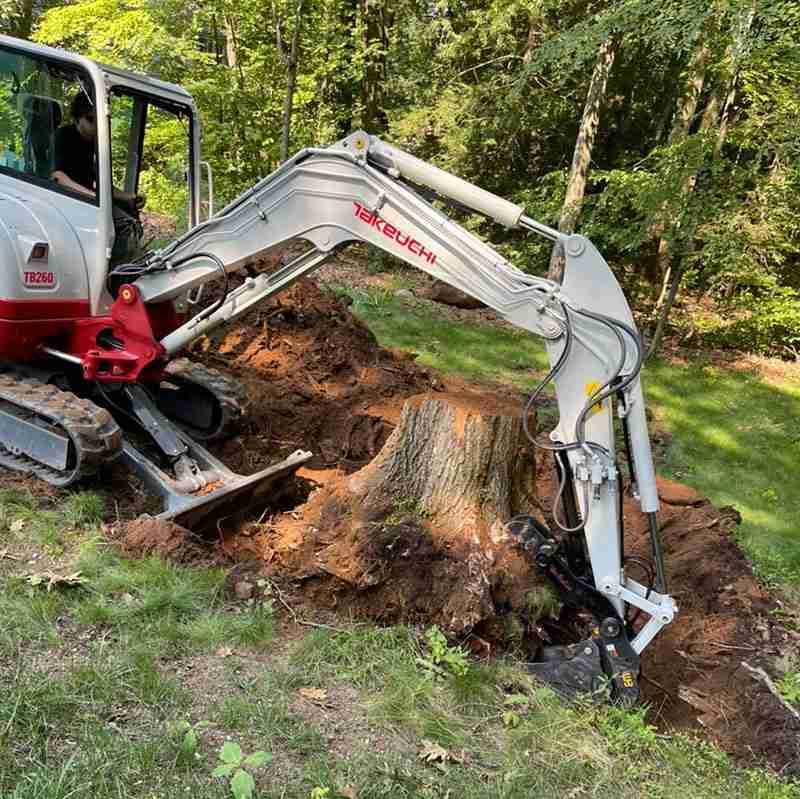 Removing stump with excavator